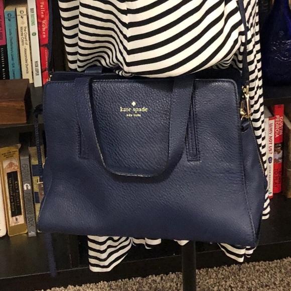 kate spade Handbags - Kate Spade Navy Pebbled Leather Satchel Handbag